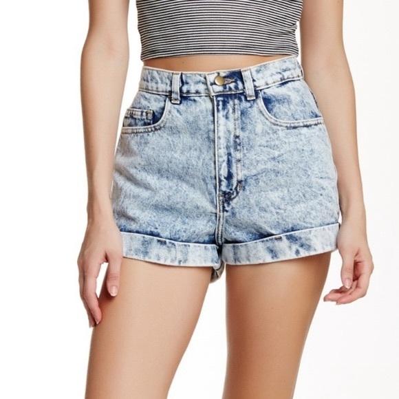 American Apparel Acid Wash Denim Shorts Size 28